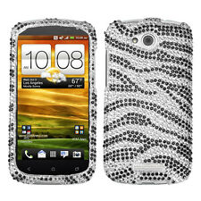 For AT&T HTC ONE VX Crystal Diamond BLING Hard Protector Case Phone Cover Zebra