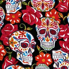 FESTIVE SUGAR SKULLS Black DAY OF DEAD Skull FQ Calaveras MEXICAN FOLK ART