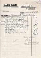 Alte Rechnung 1937 Paul Roh Schmiedemeister Hufbeschlag Glindow Werder