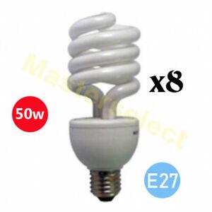 Lot de 8 ampoules douilles E27 spirale economique eco 50w=120w Puissante