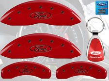 MGP Brake Caliper Covers Red Paint Custom Black Logo 2009-2016 Ford Flex