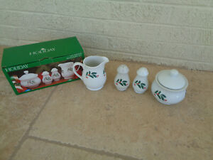 Christmas Set Alco Porcelain Holly Berry Creamer Sugar Bowl Salt Pepper Shakers