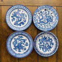 "Set of 4 Dragon Plates by Bombay 8"" Cobalt Blue & White Porcelain 3121"