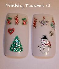 Nail Art Sticker- 3D Christmas Decal XM3 TJ050 Transfer Silver Snowman Tree