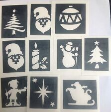 Christmas glitter tattoo stencils Santa candle facepainting glass etching fabric