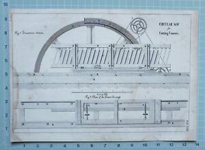 1847 ENGINEERING PRINT CIRCULAR SAW FOR CUTTING VENEERS PLAN LOWER CARRIAGE