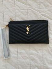 Saint Laurent YSL Black Monogram Bill Pouch Wristlet