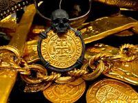 """MEXICO """"SKULL PENDANT"""" 1715 ESCUDOS GOLD PLATED COIN  SHIPWRECK TREASURE JEWELRY"""