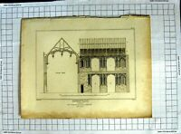 Original Old Antique Print 1813 Crosby Hall London Palmer Roffe Architecture