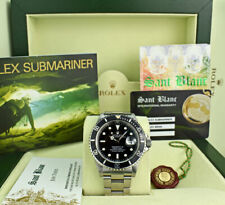 ROLEX - 40mm Mens Stainless Submariner Black Index 16610 BOX BOOKS - SANT BLANC