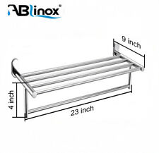 Bathroom Towel Rack Stainless Steel Wall-Mount Towel Holder Hanging Shelf Silver
