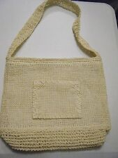 CREAM CROCHET HANDBAG ZIPPER CLOSURE FRONT POCKET NEW
