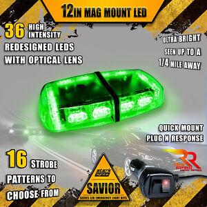 36 LED Light Bar Top Beacon Magnetic Flash Hazard Roof Emergency Strobe GREEN A