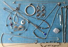 Lot of Geometric Silver Tone Jewelry Odds and Ends Mod Inspired Set Jewel Box