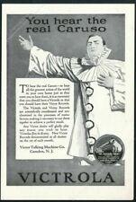 1920 Enrico Caruso portrait Victrola Victor Records vintage print ad