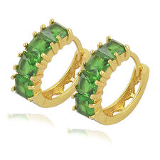 SMALL 9K CRYSTAL GREEN EMERALD SAPPHIRE HUGGIE HOOP EARRINGS WOMENS MENS GOLD GF