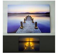 Wall Art Canvas LED Light Up Dock Sunset Beach Nautical Candle Decor Home NEW