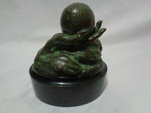 Mara Dominioni Bronze Sculpture The World in His Hand Globe Limited Edition