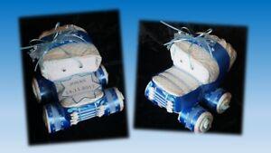 Windeltorte Windelauto Auto Torte Baby Geschenk Geburt Taufe Junge blau + Name