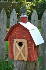"""Birdhouses - """"Rise & Shine"""" Wooden Barn Birdhouse With Tin Roof & Rooster Finial"""