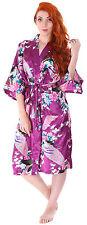 Women's Sleepwear Set Peacock Styling Kimono Robe Nightgown, Purple