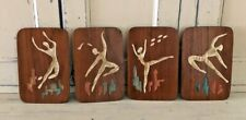 Whimsical Dancers Vintage 4 Engraved Wood Wall Art Hangings Taipe Taiwan 6X9