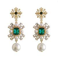 New Betsey Johnson Green Crystal Pearl Earrings Women Wedding Party Jewelry Gift