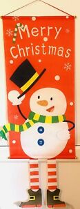 Christmas Decoration Hanging Banner Snowman Red White
