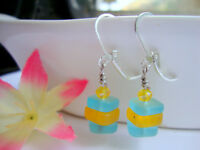 Stacked Caribbean Blue & Yellow Sea Glass Square Crystal Silver Dangle Earrings