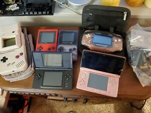 Nintendo Gameboy/GBA/DS 6 System Lot With OEM Cases & Games Serviced and working