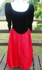 New listing Jessica McClintock Gunne Sax 80's Prom Dress Large Black Velvet, Red, ruched