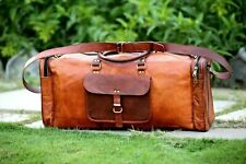 Genuine Leather Outdoor Gym Duffel Bag Travel Weekender Overnight Luggage