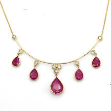 Natural Ruby Tear Drop Necklace Diamond 18kt Solid Gold Bridal Necklace