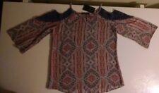 Fred David Geometric Multi Blue Crochet Trim Cold Shoulder 3/4 Sleeve S Top