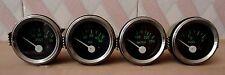 2 52mm Electrical Oil Pressure Temperature Volt Fuel Gauge Black Green