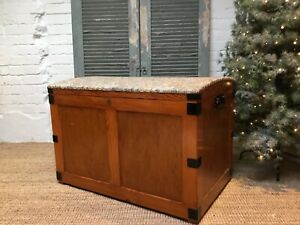 Large Solid Wood Chest Blanket Box With Tapestry Top