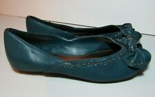Xhilaration 5.5 Teal Blue Slip On Studded Flats Open Peep Toe Bow Shoes Sandals