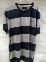 Mens HENRI LLOYD Crew Neck T Shirt Navy Blue Grey Striped 100% Cotton Size XL 36