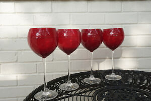 Lenox Holiday Gems Ruby Balloons Goblets Stemware Wine Glasses - Set of 4 - EXC!