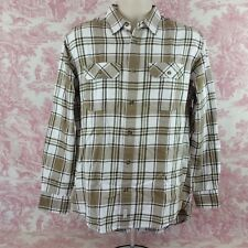 Cabelas Mens Size M Medium Button Front Shirt Long Sleeve Brown White Plaid