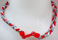 """NEW! 20"""" Custom Clasp Braided Sports Red Gray White Tornado Necklace Twist Grey"""