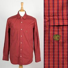 MENS TIMBERLAND RED CHECK PATTERN SHIRT STRIPED CASUAL L