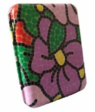 Metal Smokers Coloured CIGARETTE CASE Tin ~ with purple and green flower design