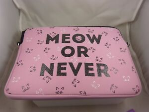 Pink Cat theme Meow or never  padded case for laptop or Ipad , Tablet, laptop