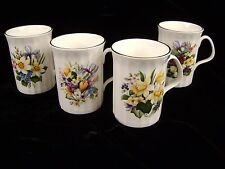 """4 Queensway Fine Bone China Mugs Cups Ribbed Floral Spring Bouquet 4"""" Tall"""