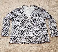 AB/08 Ladies EWM Top Blouse Multi Long Sleeve Abstract Print Plus Size 22 24 VGC