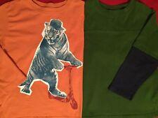 Boys Long Sleeve T Shirts Size 6 Yrs Talbots Green Layered Crazy 8 Orange Tiger