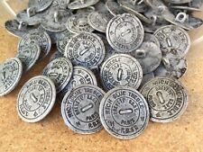 """50 RARE & COOL Euro Metal Buttons Antique Silver finish 23/MM 7/8"""""""