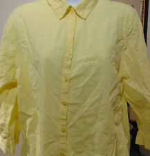 Croft & Barrow Women's Yellow Embroidered  Large Button Down Shirt