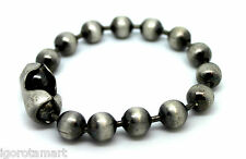 New Unisex Jewelry Vintage Silver Steel Metal Beads String Bracelet Bangle